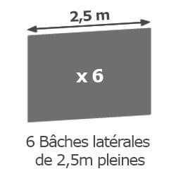 Inclus dans votre colis : Notre Barnum ALU PRO 55 de 5m x 5m  est livré avec ses 6 parois latérales pleines de 2,5m