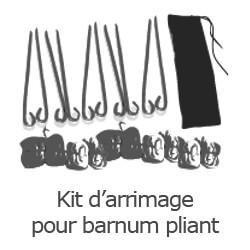 Inclus dans votre colis : Notre Barnum ALU PRO de 6m x 9m est livré avec son kit d'arrimage composé de 10 piquets et 10 sangles