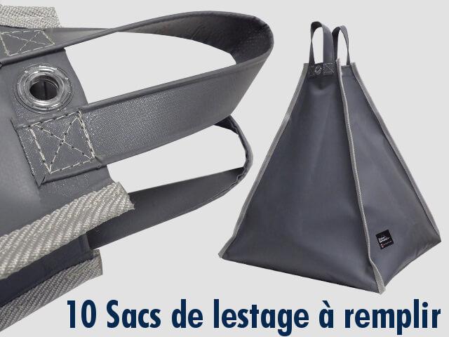 10 Sacs à remplir de sable ou de gravillons offerts pour le haubanage afin de maintenir votre barnum pliant au sol