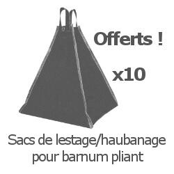 Inclus dans votre colis : Notre Barnum ALU PRO de 6m x 9m est livré avec 10 sacs de lestage/haubanage à remplir de sable ou de gravillons fins