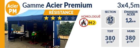 Barnums pliants de 3m x 4,5m de la Gamme Acier Premium