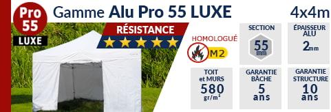 Barnums pliants de 4m x 4m de la Gamme Alu Pro 55 LUXE