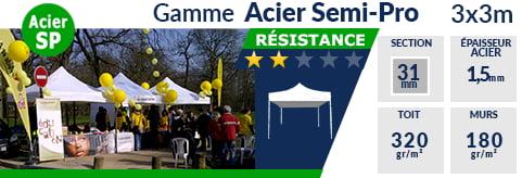 Barnums pliants - Tonnelles Acier Semi Pro 3mx3m