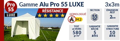 Barnums pliants de 3m x 3m de la Gamme Alu Pro 55 LUXE