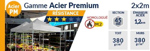 Barnums pliants de 2m x 2m de la Gamme Acier Premium