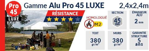 Barnums pliants de 2,4m x 2,4m de la Gamme Alu Pro 45
