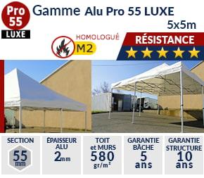 Barnums pliants de 5m x 5m de la Gamme Alu Pro 55 LUXE