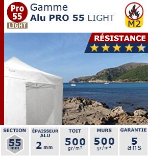 Barnums pliants de 3m x 3m de la Gamme Alu Pro 55 LIGHT