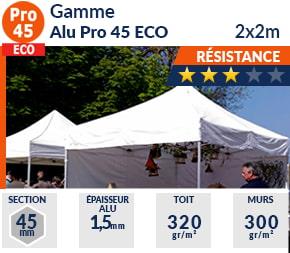 Barnums pliants de 2x2m de la Gamme Alu Pro 45 ECO