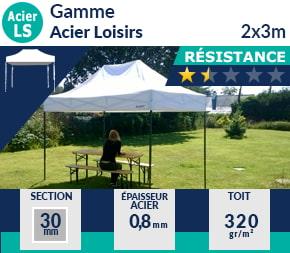 Barnums pliants de 2x3m de la Gamme Acier Loisirs