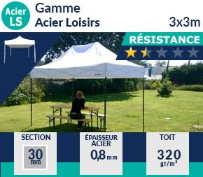 Barnums pliants de 3x3m de la Gamme Acier Loisirs