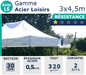 Barnums pliants de 3x4,5m de la Gamme Acier Loisirs