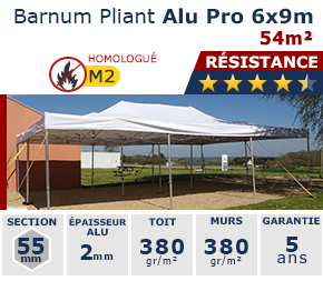 Barnums pliants - Chapiteaux Alu Pro 6mx9m 54m² structure Ø55mm et bâche 380g/m² M2
